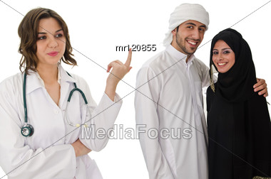 Female Doctor With Arab Family Stock Photo