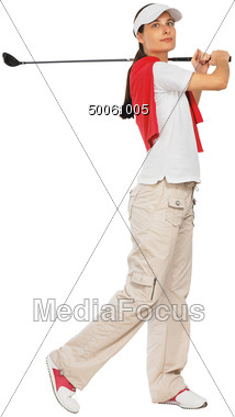 Female Golfer Swinging Putter Stock Photo