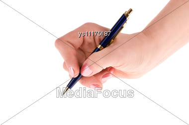 Female Hand With Pen Stock Photo