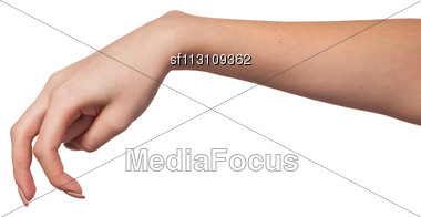 Female Hand Is Showing The Walking Fingers Isolated On A White Background Stock Photo