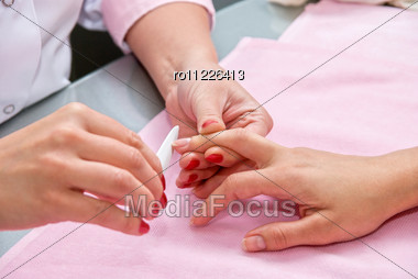 Female Hands Closeup At Manicure Process Stock Photo