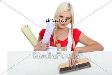 Female House Painter Stock Photo