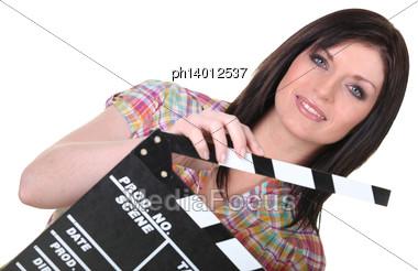 Female Movie Director Stock Photo