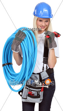 Female Plumber Stock Photo