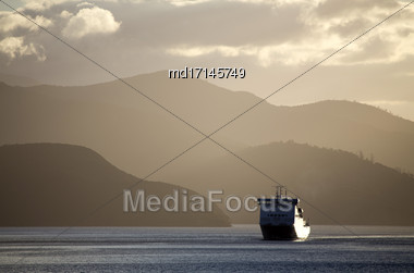 Ferry View Picton New Zealand To South Island Cargo Ship Stock Photo