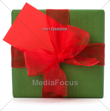 Festive Gift Box Isolated On White Background Stock Photo