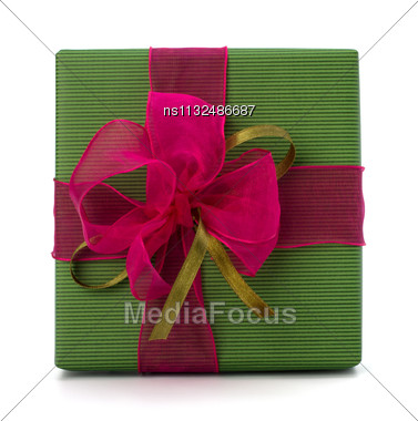 Festive Gift Box Isolated On White Background Stock Photo