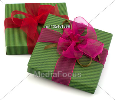 Festive Gift Box Stack Isolated On White Background Stock Photo