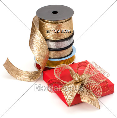 Festive Gift Box And Wrapping Ribbons Isolated On White Background Stock Photo