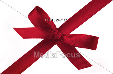 Festive Gift Ribbon And Bow Isolated On White Stock Photo