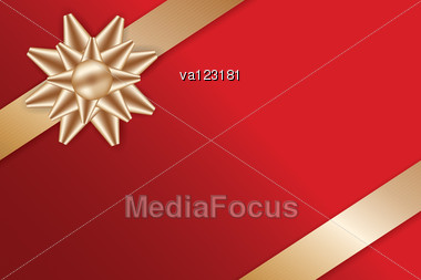 Festive Golden Bow And Ribbons On Red Background For Greeting Card Vector Illustration. Stock Photo