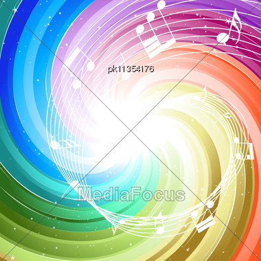 Festive Rays With Many Stars And Notes. Vector Illustration. Stock Photo