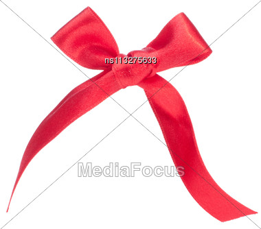 Festive Red Gift Bow Isolated On White Background Stock Photo