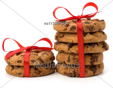 Festive Wrapped Chocolate Pastry Biscuits Isolated On White Background Stock Photo