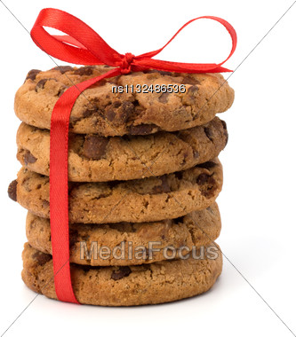 Festive Wrapped Chocolate Pastry Cookies Isolated On White Background Stock Photo