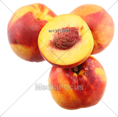 Few Peaches With Slice Of One, On White Background. Isolated Stock Photo