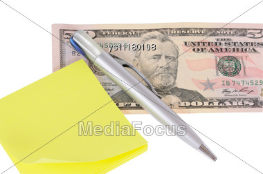 Fifty Dollars,pen And Notebook Stock Photo
