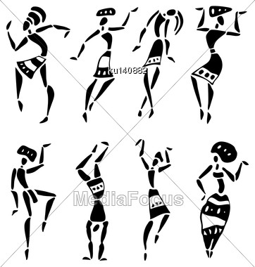 Figures Of African Dancers. People Silhouette Set. Vector Illustration Stock Photo