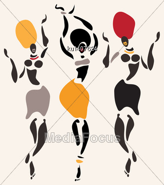 Figures Of African Dancers. Vector Illustration Stock Photo