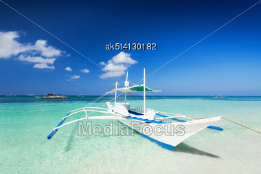 Filipino Boat In The Sea, Boracay, Philippines Stock Photo