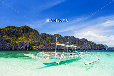 Filipino Boat In The Sea, El Nido, Philippines Stock Photo