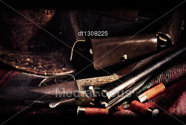 Film Noir. Art Vintage Hunting Backgrounds With Old Film Added Texture Stock Photo