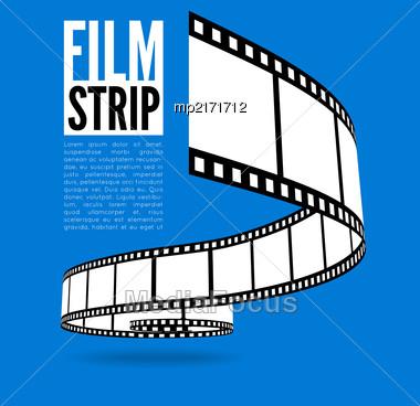 Film Strip Vector Illustration On Blue Background Stock Photo