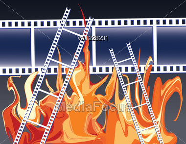 Films In Fire Flames. Abstract Illustration. Stock Photo