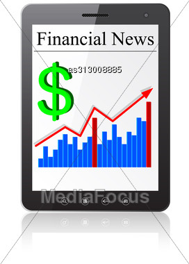 Financial News Dollar On Tablet PC. Isolated On White. Vector Illustration. Stock Photo