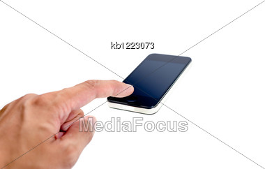 Finger In Press Mobile Phone Stock Photo