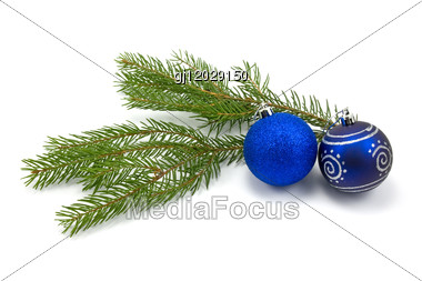 Fir Branch With Christmas Baubles Stock Photo