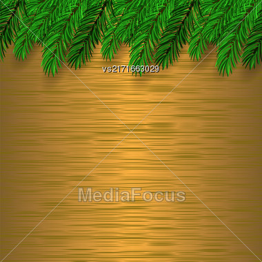 Fir Green Branch On Brown Metal Background Stock Photo