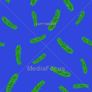 Fir Green Branches Seamless Pattern On Blue Background Stock Photo