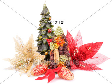 Fir Tree Candles, Cones, Flowers And Red Ribbon Isolated On White Background Stock Photo