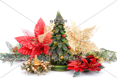 Fir Tree Candles And Holly Berry Flowers Isolated On White Background Stock Photo
