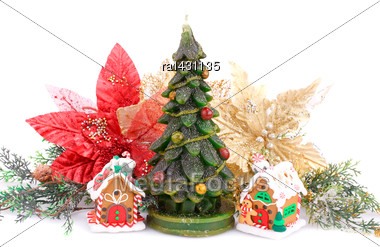 Fir Tree Candles, Toy Houses And Holly Berry Flowers Isolated On White Background Stock Photo