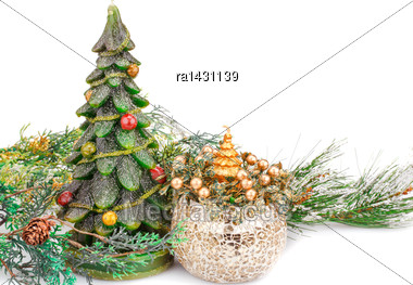 Fir Tree Candles And Vase On White Background Stock Photo