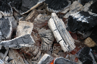 Fire Ash And Ember In Fire Place Stock Photo
