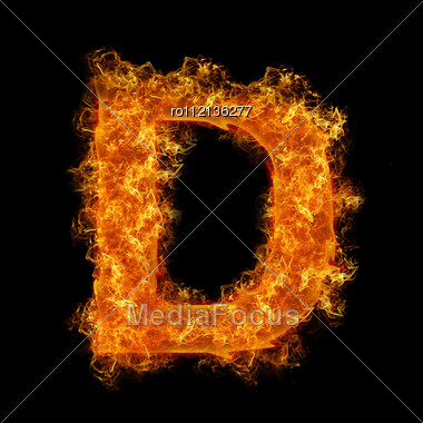 Fire Letter D On A Black Background Stock Photo