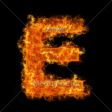 Fire Letter E On A Black Background Stock Photo