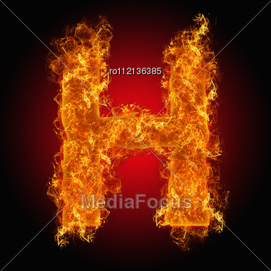 Fire Letter H On A Black Background Stock Photo