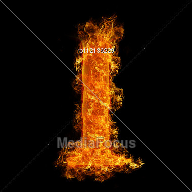 Fire Letter I On A Black Background Stock Photo