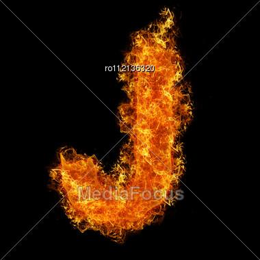 Fire Letter J On A Black Background Stock Photo
