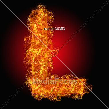 Fire Letter L On A Black Background Stock Photo