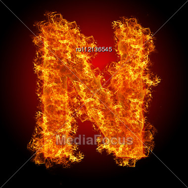 Fire Letter N On A Black Background Stock Photo