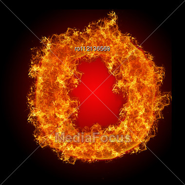 Fire Letter O On A Black Background Stock Photo