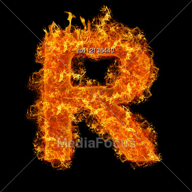 Fire Letter R On A Black Background Stock Photo