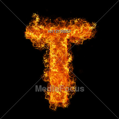 Fire Letter T On A Black Background Stock Photo