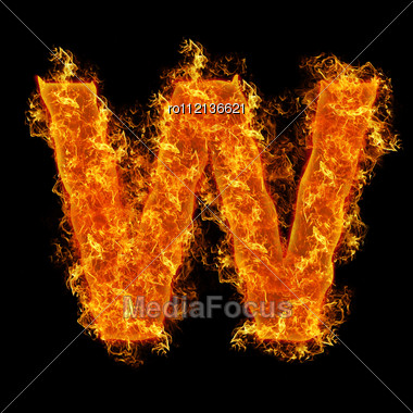 Fire Letter W On A Black Background Stock Photo