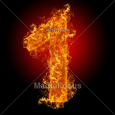 Fire Number 1 On A Black Background Stock Photo